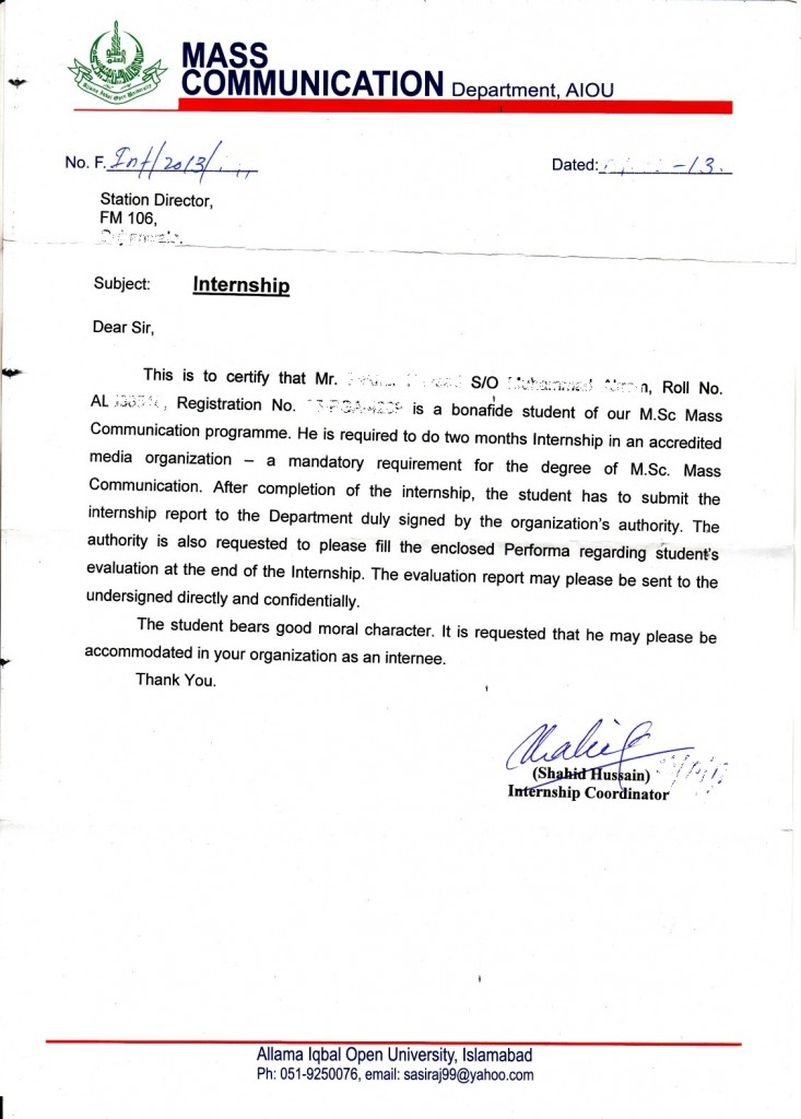 Internship letter of Mass Communication (2)