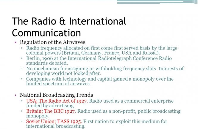 The Radio & International Communication Regulation of the Airwaves